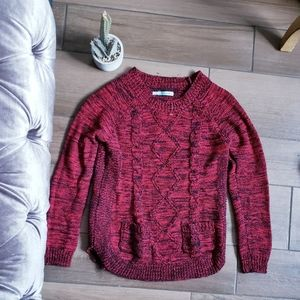 Maurices Red Cable Knit Crew Sweater M Black